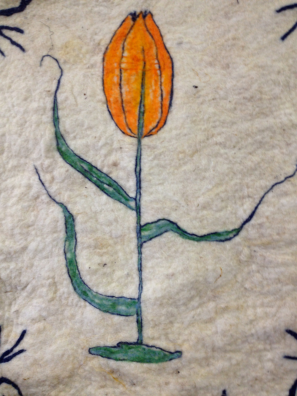 Tulip painted in wool